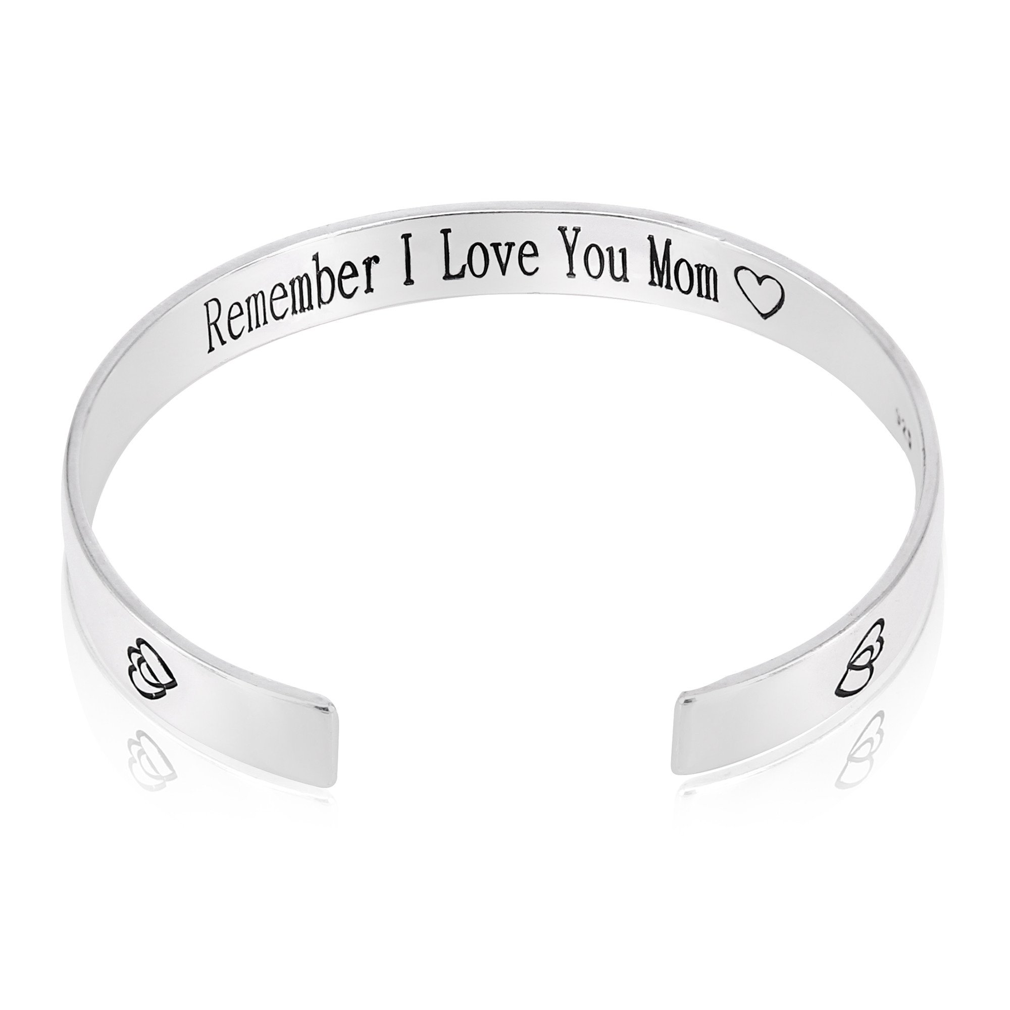 QTMY Remember I Love You Mom Forever and Always Cuff Bracelet Bangle Christmas Mother's Day Gift from Daughter (Titanium steel)
