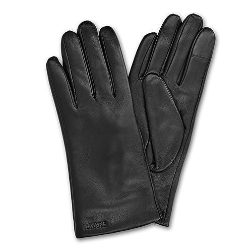 Navaris guantes táctiles para pantalla de Smartphone - Guantes de cuero de cordero y forro de cachemira - Guantes de mujer térmicos función táctil