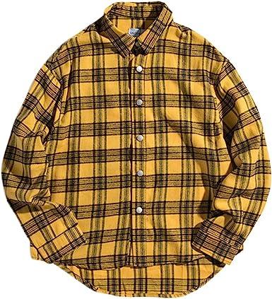 Irypulse Camisa a Cuadros de Manga Larga para Hombre Casual Tops Patrón de Alfabeto Loose-fit Moda Urbana Callejera Estilo Hip Hop Juventud Adolescente - Diseño Original: Amazon.es: Ropa y accesorios