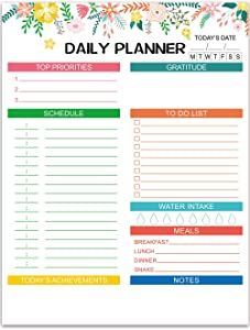 Daily Planner Floral Design with 50 Tear-Off Sheets 8.5 x 11 Inches