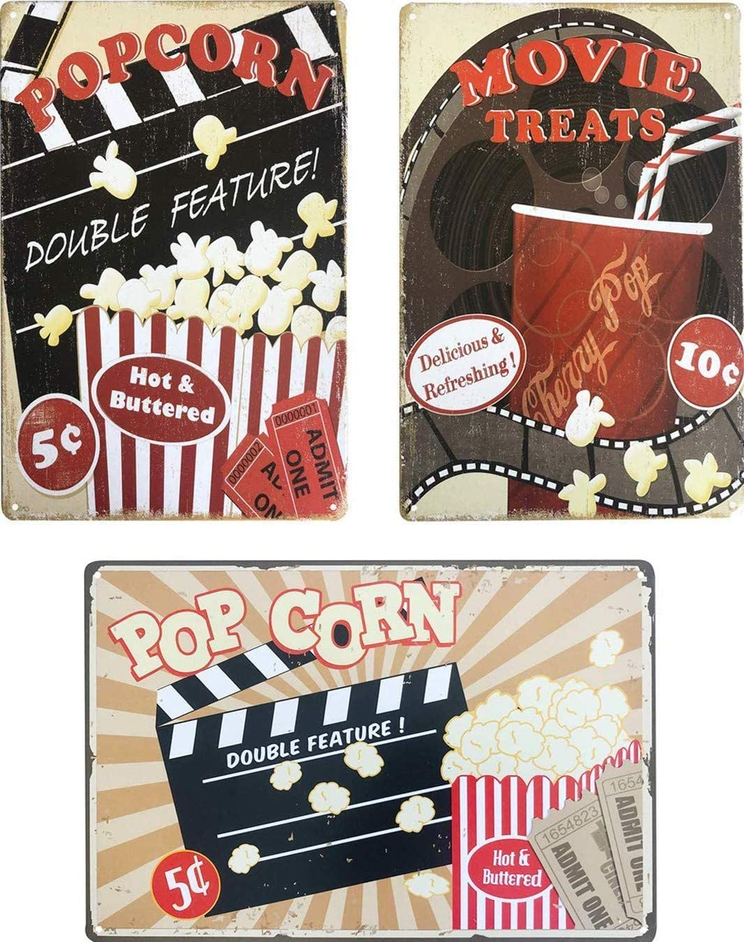 "UNIQUELOVER Movie Treats Popcorn Movie Room Decor Accessories Vintage Metal Tin Sign Funny Film Decor for Home Wall Art Plaque Decor 12"" x 8""/30 x 20cm(3Pcs Popcorn Tin Signs"