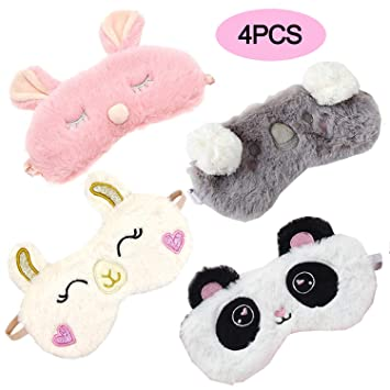 TiiMi Party 4 Pack Cute Animal Sleeping Sleep Mask Soft Plush Blindfold Cute Rabbit Panda Koala Eye...