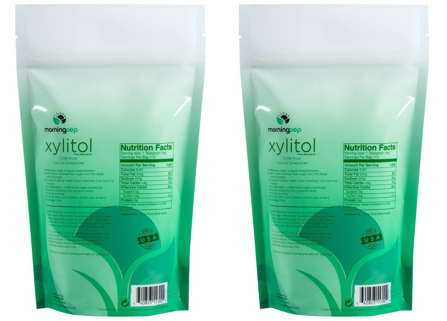 Pack of 2 Morning Pep Pure Birch Xylitol (Keto Diet Friendly) Sweetener 1 LB (Not from Corn) Non GMO - Kosher - Gluten Free - Product of USA. Total of 2 Lbs (32 OZ) by Morning Pep (Image #3)