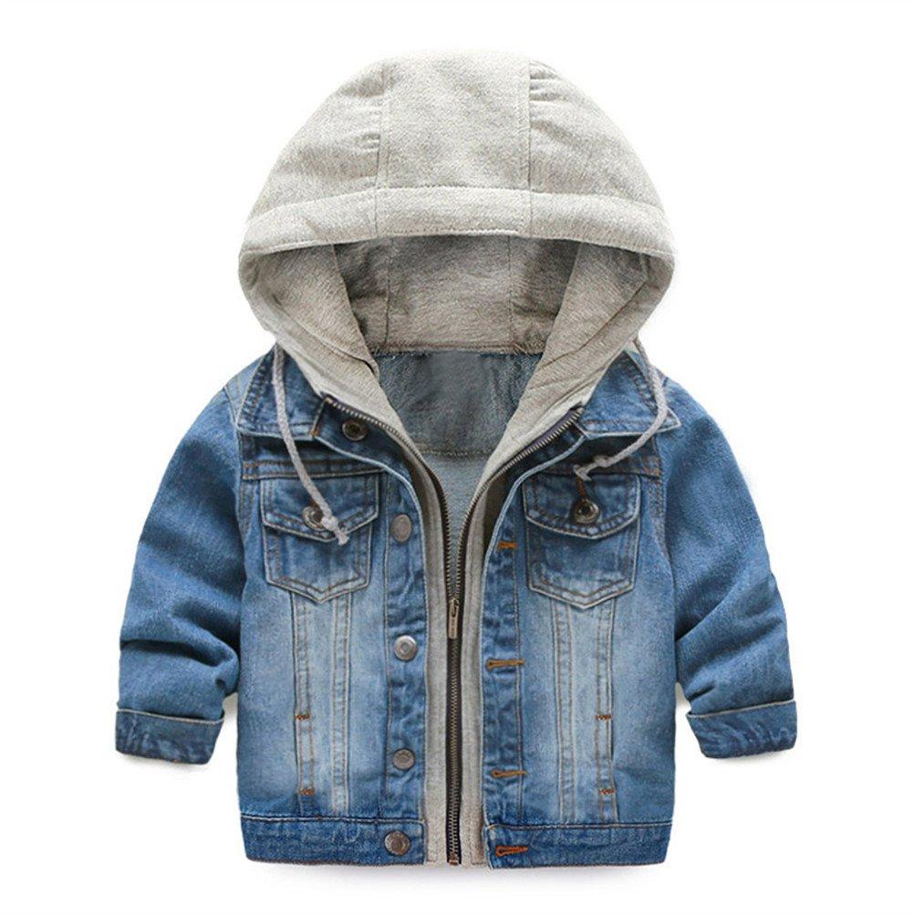 UWESPRING Kids Boy Hooded Denim Jackets Coats Lapel Zipper Pocket Jeans Outerwear 4T