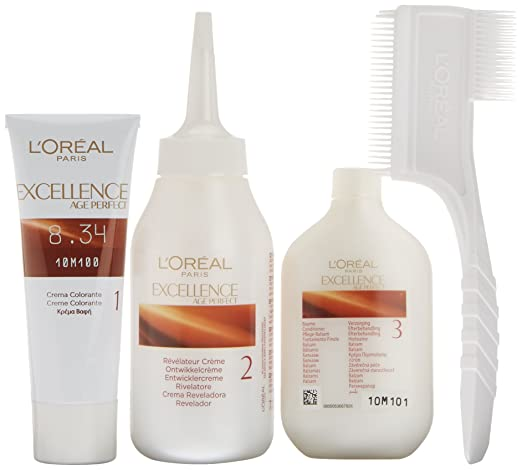 Amazon.com : LOreal Excellence Age Perf 8, 34 Rubio Dorado Cobrizo : Beauty