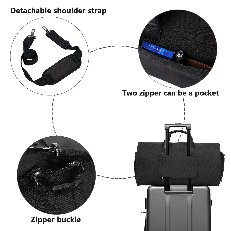 Carry-on Garment Bag Suit Travel Bag Duffel Bag Weekend Bag Flight Bag Gym Bag - Black by UNIQUEBELLA (Image #7)