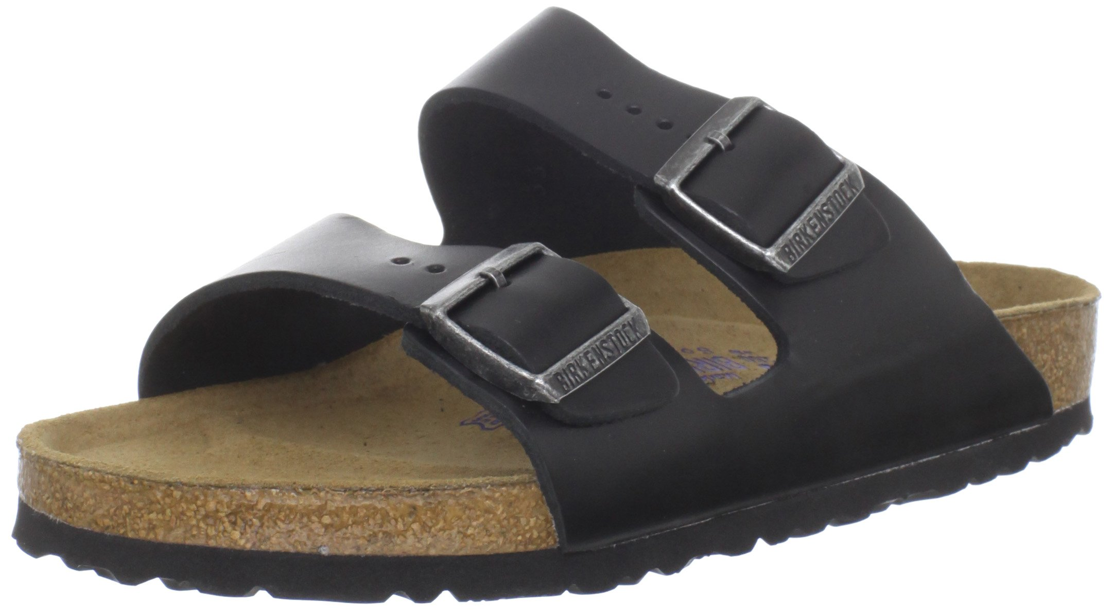 Birkenstock Unisex Arizona Soft Footbed Sandal, Black Amalfi Leather, 37 M EU/6-6.5 B(M) US Women