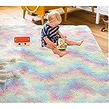 Iwanda Fluffy Rainbow Kids Rug Soft Colorful Area Rug for Girls Room 5×8ft Shaggy Cute Carpet Playing Mat for Nursery Playroo