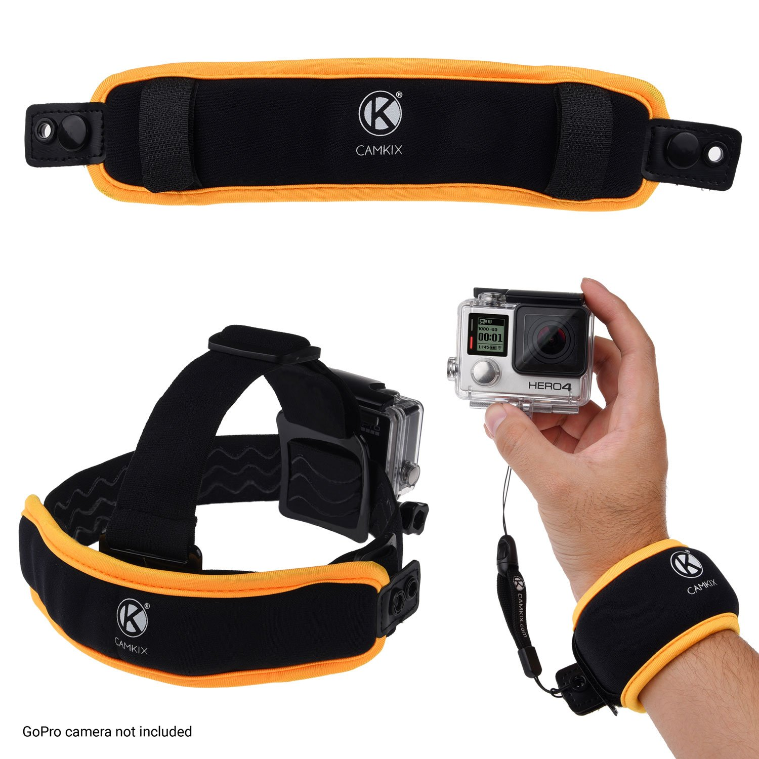 CamKix 2in1 Floating Wrist Strap & Headstrap Floater compatible with GoPro Hero 7, 6, 5, Black, Session, Hero 4, Session, Black, Silver, Hero+ LCD, 3+, 3, 2, 1 - Prevents Your Camera From Sinking - Wrap Around Wrist or Attach to a Headstrap