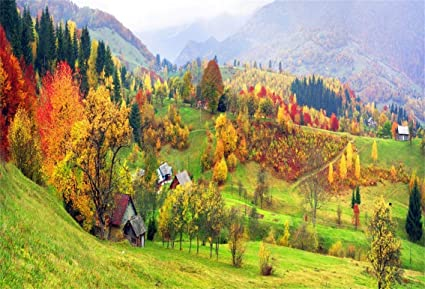 Csfoto 5x3ft Background For Beautiful Autumn Village Landscape Photography Backdrop Yellow And Red Leaves Fall Nature Green Hill Countryside House