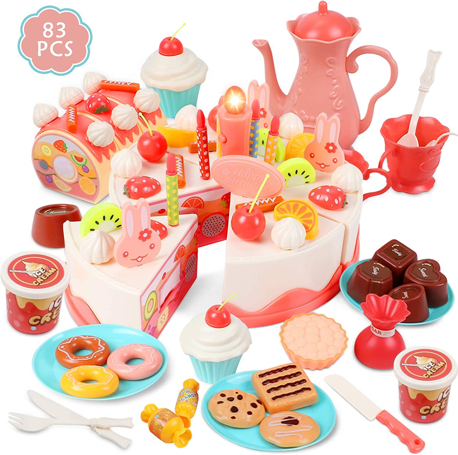 G.C Birthday Cake Toy for Kids Pretend Play Food Set with Light 83Pcs DIY Cutting Dessert Donut Ice Cream Toy Toddler Tea Party Set