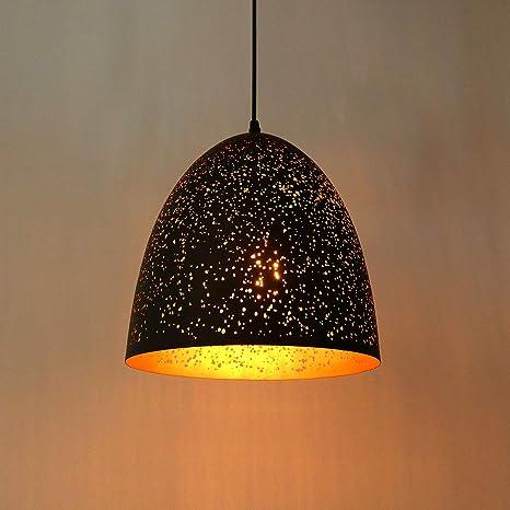 Lightess Lampada a Sospensione da Soffitto Stile Vintage Industriale Attacco E27 Plafoniera Retro Paralume in Metallo