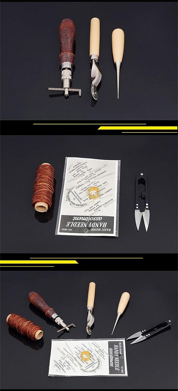 Kits de Repujado de Cuero#1 LAEMALLS 12 Piezas Juego de Manualidades de Cuero Coser a Mano Estampar y Hacer Sillines Herramientas de Coser Artesanales para Artesan/ía de Cuero Trabajo de Grabado