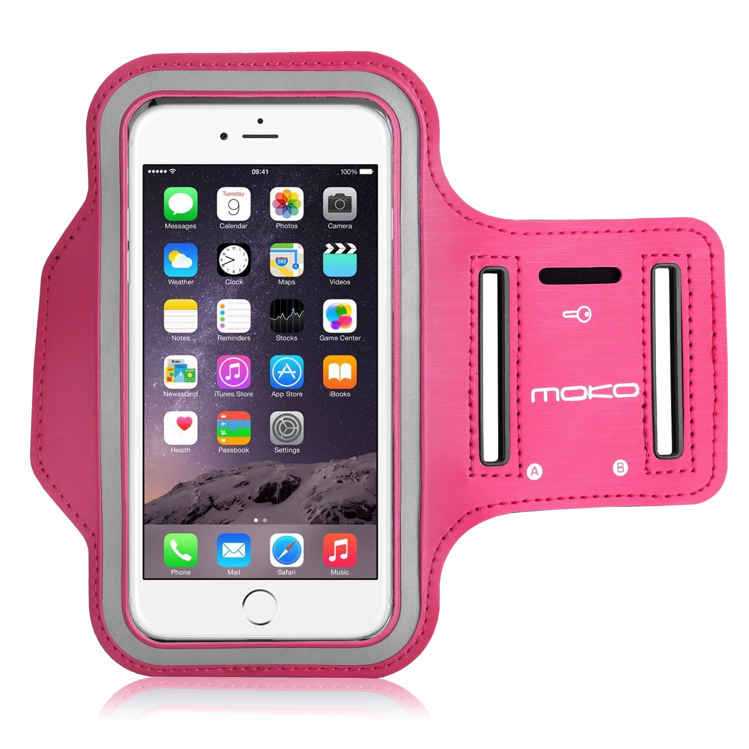 MoKo Sports Armband for iPhone 6s Plus / iPhone 6 Plus, Samsung Galaxy Note 5 / S6 edge+, Droid Turbo and LG G4 / G3, Card Slot, Sweat-proof, Magenta(Size L ...