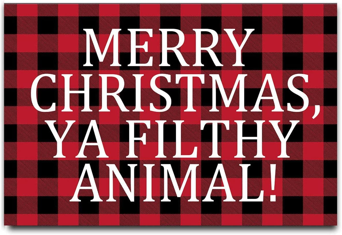 DayliPillow Red Black Buffalo Check Plaid Doormat – Merry Christmas Ya Filthy Animal Doormat Welcome Outdoor Door Mat 23.6 x 15.7