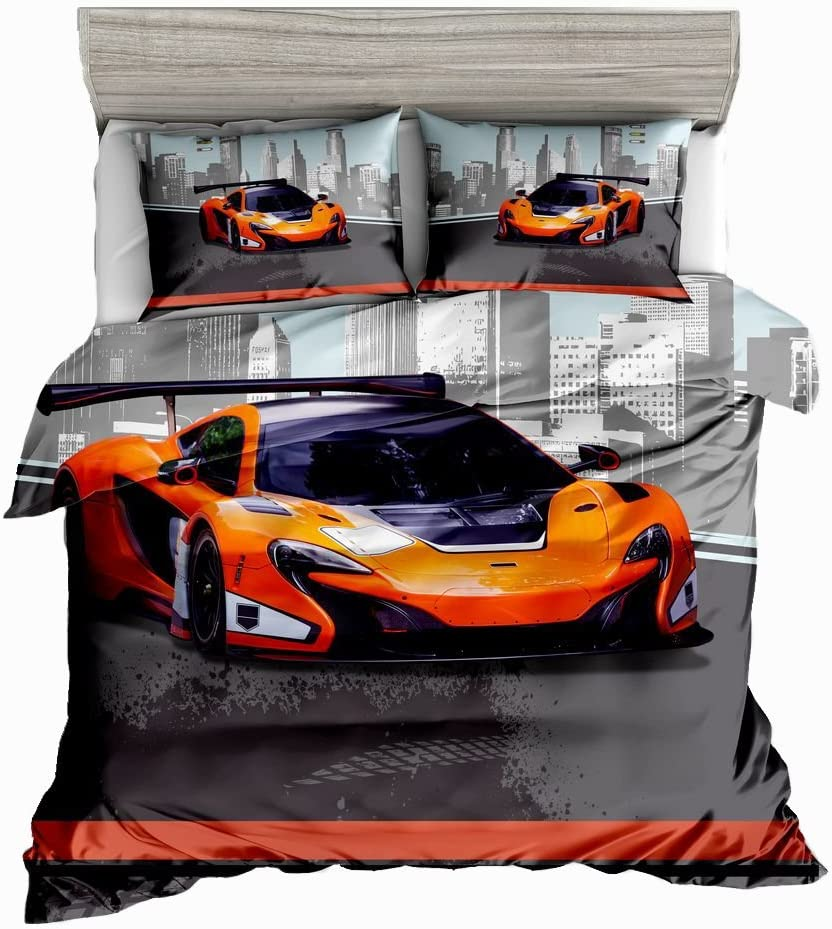 Twin 1 Quilt Cover 2 Pillowcases Abojoy Orange Sports Car Duvet Cover Set 3D Printed Cool Speed Racing Car Automobile Style Kids Teen Boys Bedding Set No Comforter Inside Orange Blue