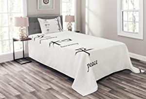 Ambesonne Bamboo Bedspread, Illustration of Chinese for Tranquility Harmony Peace with Bamboo Pattern, Decorative Quilted 2 Piece Coverlet Set with Pillow Sham, Twin Size, Black and White