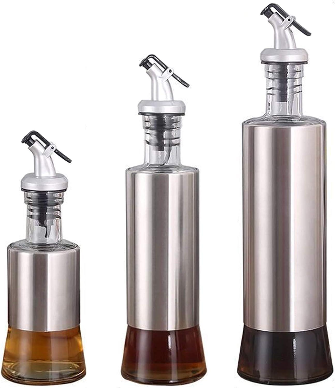 HIOD 3 Pack Olive Oil Bottles Dispenser with Funnel for BBQ/Cooking/Vinegar Glass Bottle, Leak-Proof, Spice Drops Jar Seasoning Kitchen Tools
