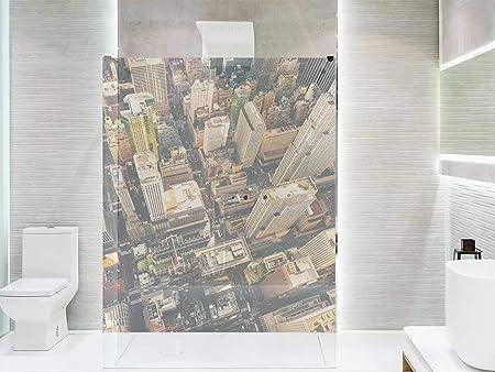 Vinilo Transparente para Mamparas de Ducha y Baños Nueva York | Varias Medidas 200x120cm | Adhesivo Resistente y de Fácil Aplicación | Pegatina Adhesiva Decorativa de Diseño Elegante: Amazon.es: Hogar