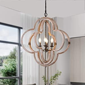 Wooden Farmhouse Orb Chandelier,Vintage Pendant Light Handmade Wood Hanging Lighting Fixture Ceiling Lamp for Dining Room, Bedrooms, Living Rooms and Foyer