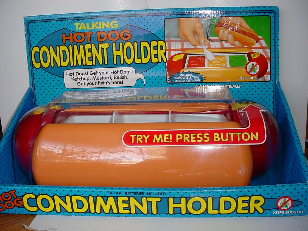Talking Hot Dog condiment Holder
