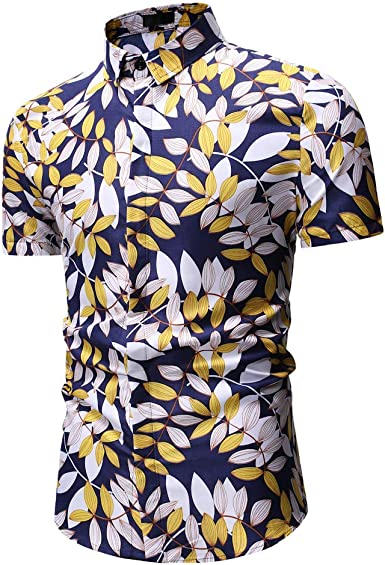 Floral Shirt Men Lips Printed Short Sleeve Slim Shirts Tops Summer Casual Slim Fit Blouse Men 2019