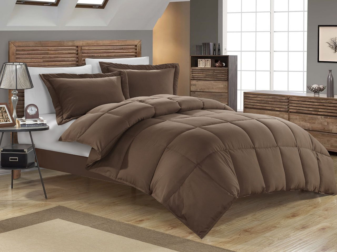 KingLinen® Chocolate Down Alternative Comforter Set Full/Queen