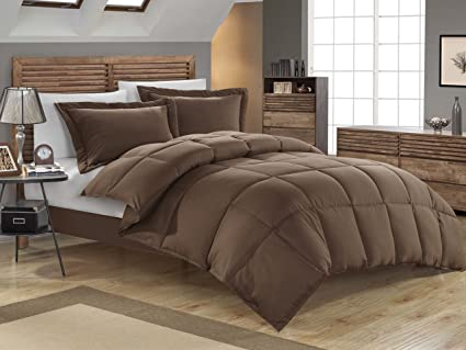 45c8270394c1 Image Unavailable. Image not available for. Color  KingLinen Chocolate Down  Alternative Comforter Set ...