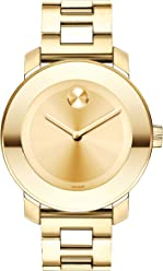 Movado Womens Bold Iconic Metal Yellow Gold Watch with a Flat Dot Sunray Dial, Gold