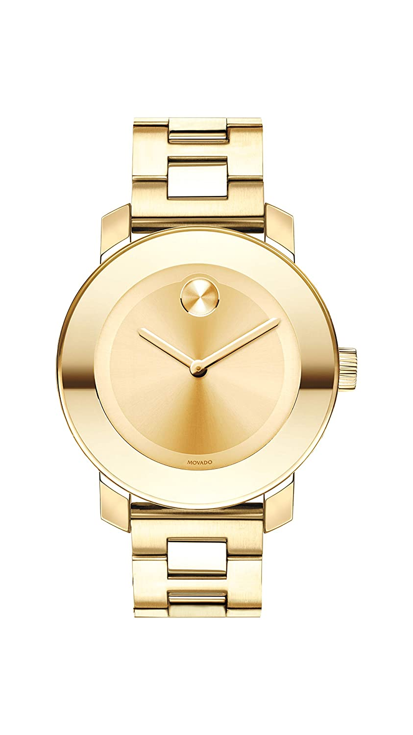 Movado Women s BOLD Iconic Metal Yellow Gold Watch with a Flat Dot Sunray Dial, Gold Model 3600085