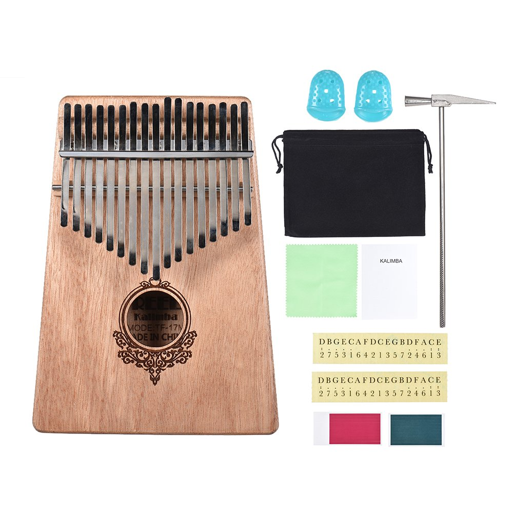 Muslady 17-key Kalimba Portable Thumb Piano Mbira Mahogany Wood with Carry Bag Stickers Tuning Hammer Cleaning Cloth Finger Stall Musical Gift for Students Beginners