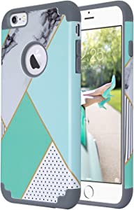 ULAK iPhone 6S Case,iPhone 6 Case, Slim Fit Dual Layer Soft Silicone & Hard Back Cover Bumper Protective Shock-Absorption & Skid-Proof Anti-Scratch Hybrid Case, Artistic/Mint Green Marble