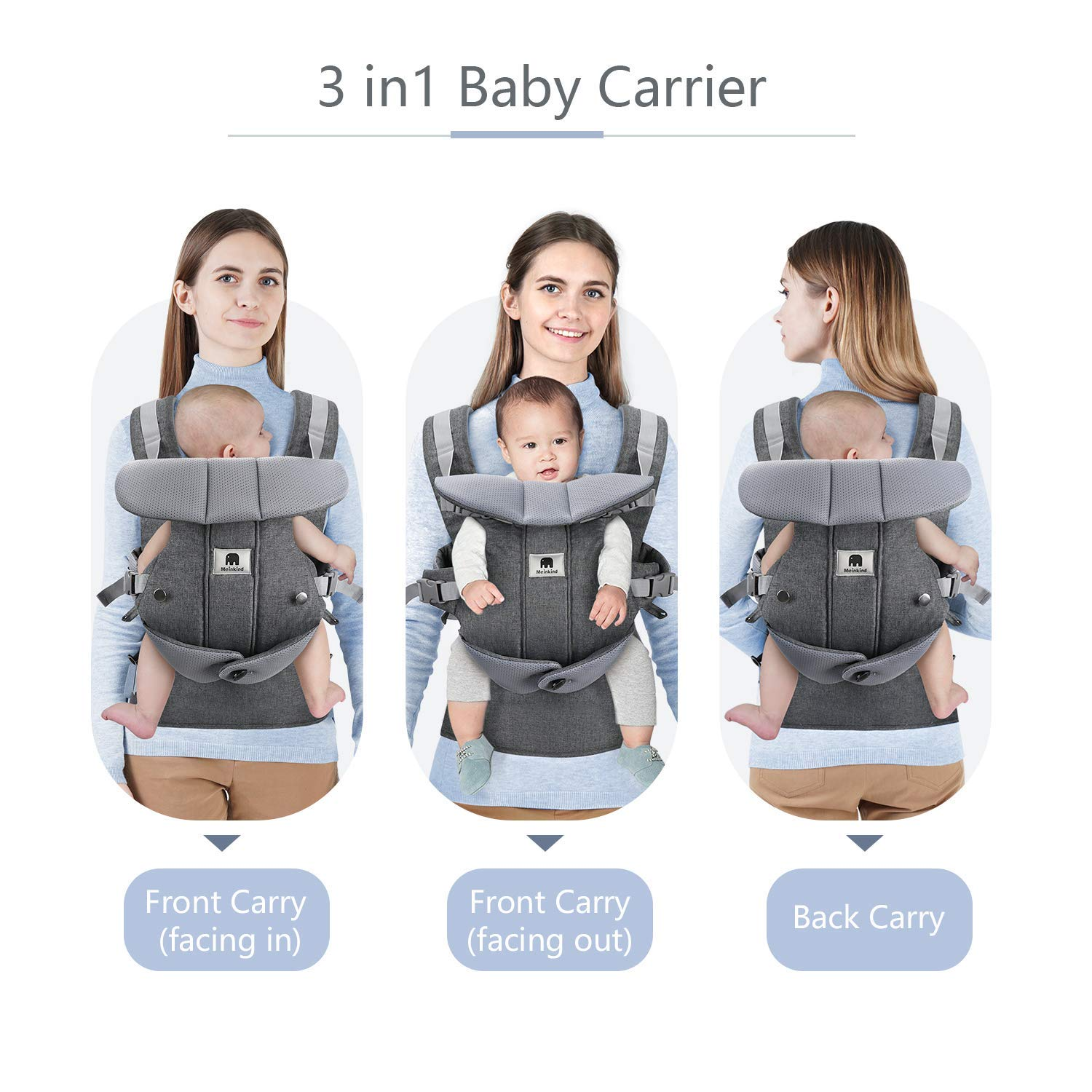 3.8 to 20 kg Baby Carrier for Newborn Grey Model A Puzzlos 4-in-1 Newborn to Toddler Baby Carrier Backpack and Front Baby Sling Carrier up to 48 Months