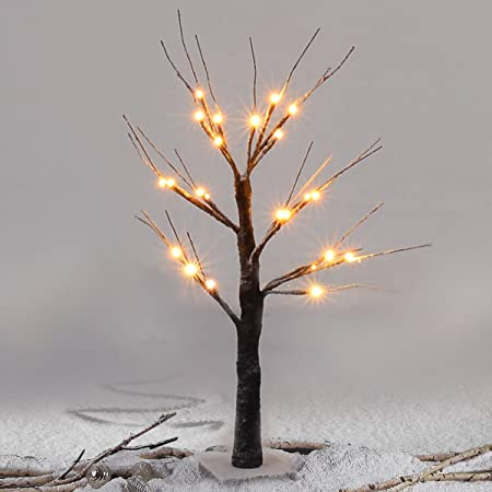 Costway white twig tree christmas decoration winter snow warm led costway white twig tree christmas decoration winter snow warm led lights 45cm snow dusted branch aloadofball Images