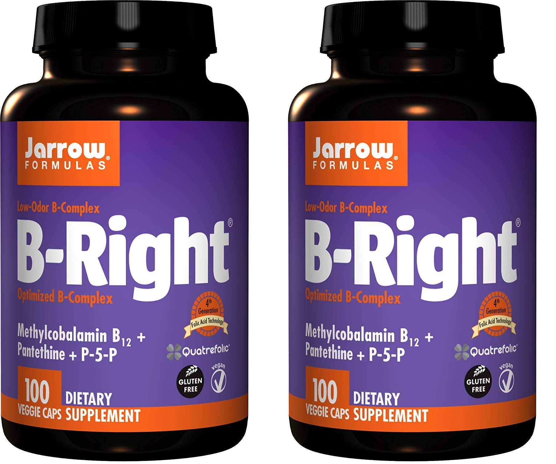 Jarrow Formulas B-Right Complex, Supports Engery, Brain and Cardiovascular Health (100 Veggie Caps Pack of 2)