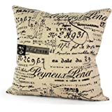 Lavievert Decorative Ramie Cotton Square Throw Pillow Cover Cushion Case Vintage Khaki Background Words Pattern Toss Pillowcase with Hidden Zipper Closure 20 X 20 Inches (For Living Room, Sofa, Etc)