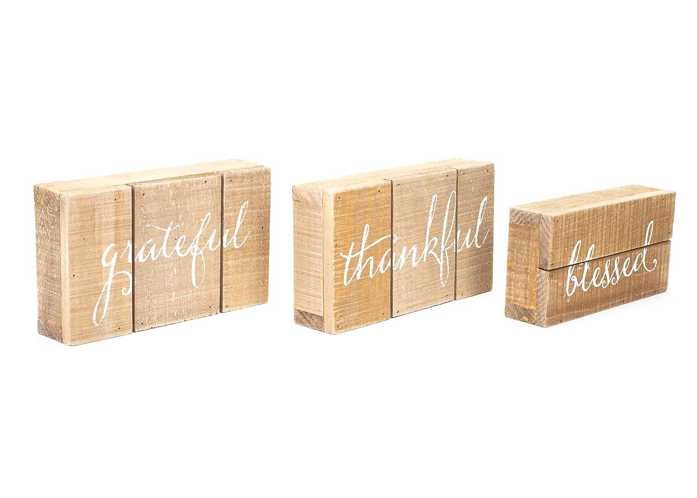 Honey In Me Grateful Thankful Blessed Natural Brown 15 x 9 Pallet Wood Harvest Sign Set of 3