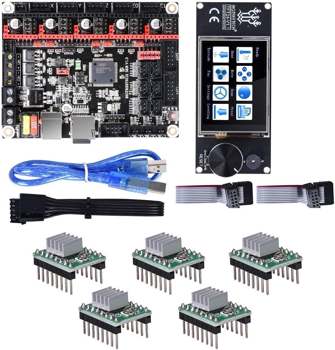 3Dプリンター部品のBIGTREETECH SKR 32ビットコントローラボードV1.3 + TFT24のタッチスクリーン+の5pcs A4988ステッピングドライバキット YHWJP