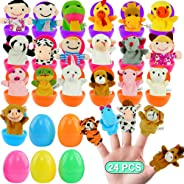 FUNNISM 24 Pieces Fun Finger Puppets Easter Eggs 2.5''for Easter Egg Hunt,Easter Basket Fillers,Classroom Prize Supplies,Bir