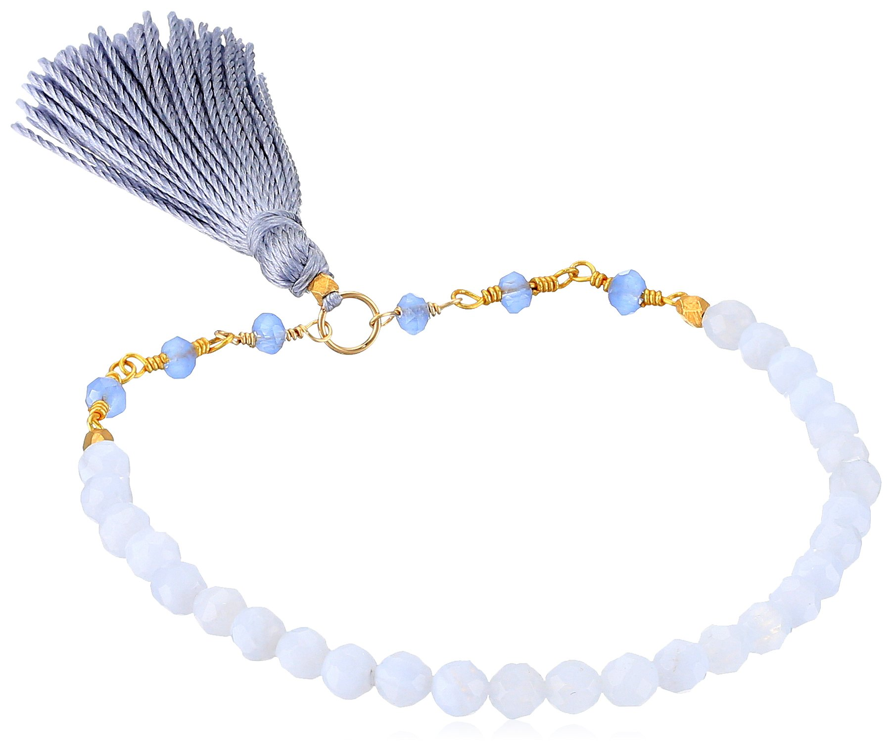 Satya Jewelry Blue Lace Agate Gold Plated Tassel Stretch Bracelet