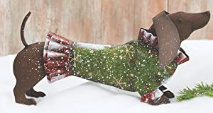 Hand-Painted Tin Metal Holiday Dachshund Dog Decorations with Christmas Sweaters (Green)