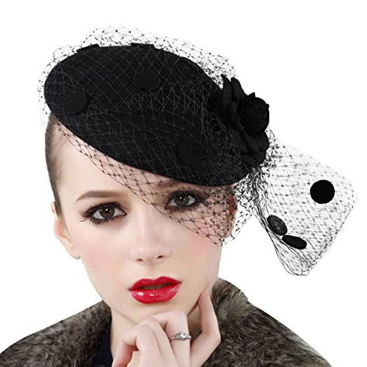 fdde9c9f9a0 Lawliet Womens Fascinator Wool Hair Pillbox Hat Rose Veil Cocktail Party  Wedding A043 (Black)