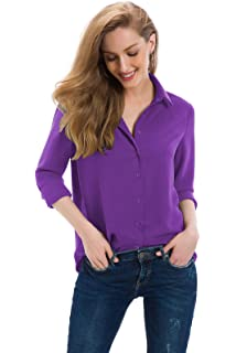 1aa60c2ae62 Cantonwalker Women s Long Sleeve Shirt Loose Casual Professional Button  Blouse for Women 5005