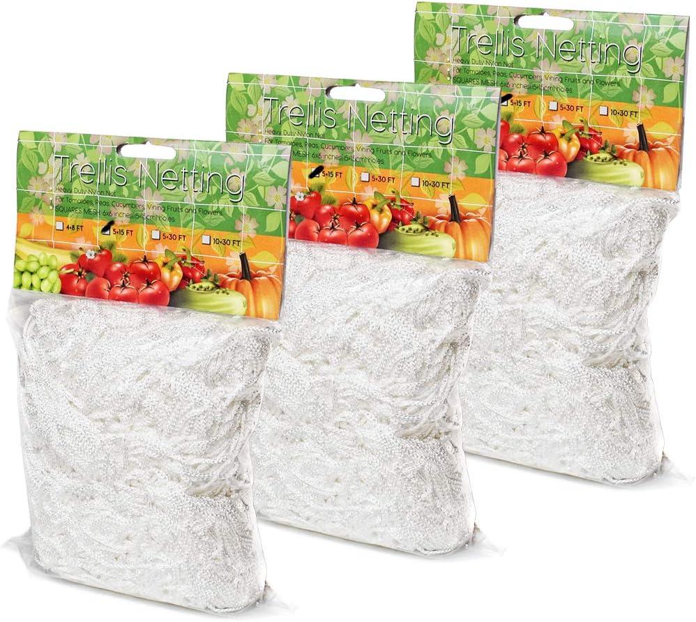 EACHON Plant Climbing Trellis Netting, 3 Pack 5 x 15ft Heavy Duty Trellis Net for Gardening Plant, Polyester Flexible String Growing Net