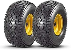 2 Pcs Lawn Mower Tires 15x6.00-6 with Wheel for Riding Mowers, 3