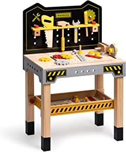 ROBUD Wooden Tool Workbench Toy for Kids & Toddlers, Pretend Play Tool Toy Gift for Boys Girls