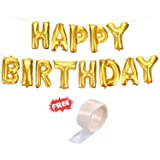 """Party Hour Happy Birthday Banners Foil Balloons Gold with """"Free"""" 24 Glue Dots for Easy décor on The Wall for Party Decorations ( Birthday Balloons For Decorations Items Materials For Girls Boys Happy Birthday Banner Foil Balloon Party Props Metallic Ballons Banners )"""