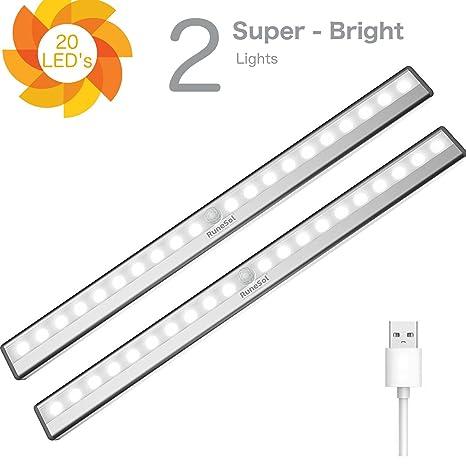 Lámpara Recargable Con Sensor De Movimiento Runesol® / 2 Barras De Iluminación Con 20 Luces