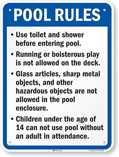 Amazon.com: California Piscina reglas signo, 24