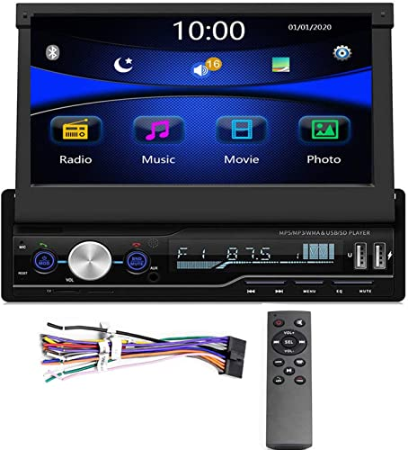 Regetek Single Din Car Stereo 7 inch Bluetooth Car Audio Video Player